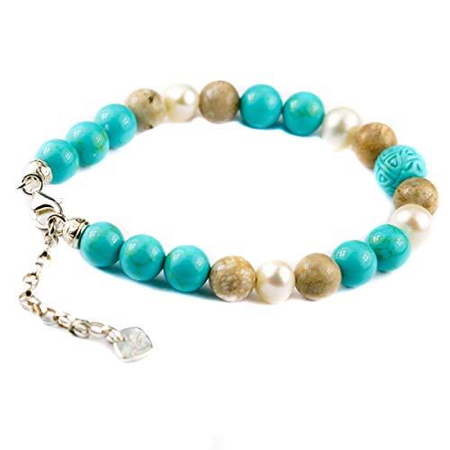 Thomas Sabo AIR-A1606-368-7 - Pulsera con perlas de agua dulce, jaspe y turquesa