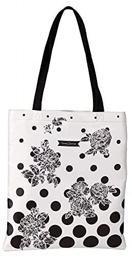 Clairefontaine 115103C - Un Sac Shopping Multifonctions motifs Roses noires sur fond blanc à pois noirs 35x40 cm en nylon doublure polyester - Collection Chantal Thomass
