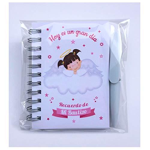 Recuerdos, Regalos y Detalles Originales Para Invitados Bautizo y Baby Shower Niña - Pack 15 Libretas con Mini Bolígrafo - ¡Tus Familiares y Amigos Alucinarán!