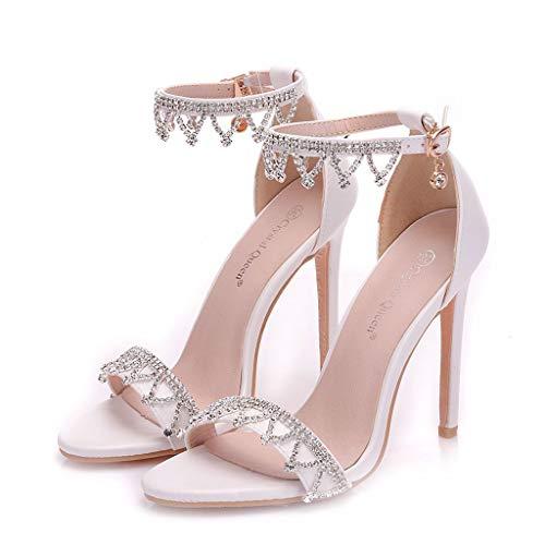 CJJC Blanco Elegante Zapatos de Boda Sencillos para Mujeres Roma Punta Abierta Borla Rebordear Hebilla Sandalias Tacones Altos Ideal para Nupcial Dama de Honor Fiesta Uso EU40