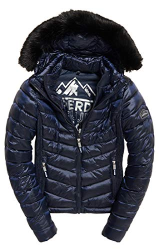 Superdry Damen Hooded Luxe Chevron Fuji Sportjacke, Blau (Navy Tanzanite Xb2), Medium (Herstellergröße: 12.0)