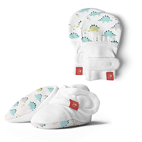 Baby Booties & Mittens Bundle, Adjustable Soft & Secure (Drops/Poppy, 0-3 Months)