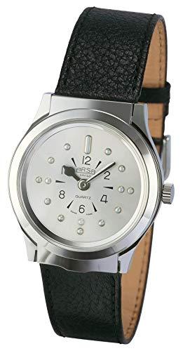 Arsa Braille Uhr Herren Silber - Brailleuhr für Blinde und Sehbehinderte - Mit Glasklappe zum Schutz - 34 mm Zifferblatt - Mit schwarzem Lederarmband
