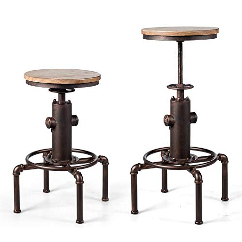 GOPLUS Tabouret de Bar de Style Industriel, Chaise de Bar Vintage en Bois et Metal, Pieds de Tabouret Antidérapants avec Repose-Pieds, Hauteur Réglable de 60-75CM