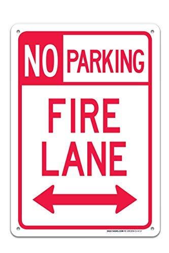 Miles2345 Schild Fire Lane No Parking Both Side (englischsprachig), 25,4 x 35,6 cm, rostfreies Aluminium, UV-Bedruckt, mit professionellen Grafiken, einfach zu montieren, für drinnen und draußen