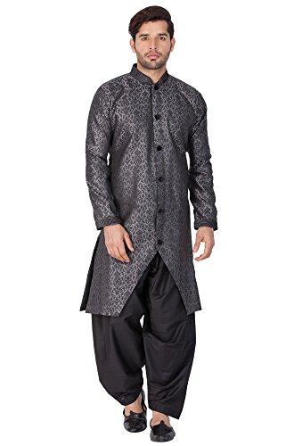 Vastramay Mens Silk Blend Sherwani (Grey_VASMSW122)