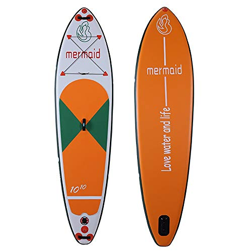 Aufblasbares Paddle Board Hydro-Force Inflatable SUP Stand Up Paddle Board mit Tragetasche, Pumpe, Reparatursatz, Leine, Paddel for Anfänger und Profi Stand Up ( Color : Orange , Size : 330x81x15cm )