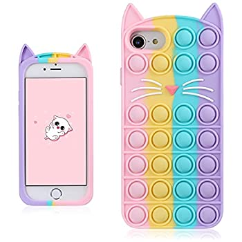 Coralogo Color Cat Case for iPhone 6/6S/7/8/SE 2020 Cartoon Funny Kawaii Cute Silicone Fun Cover Stylish Fidget Design Aesthetic for Girls Boys Kids Teen Cases for iPhone 6/6S/7/8/SE 2020 4.7