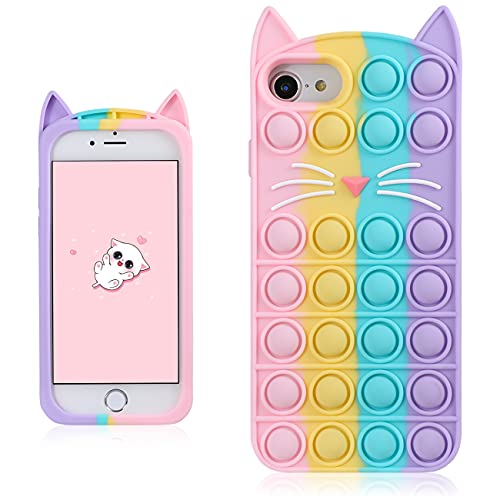 Coralogo Color Cat Case for iPhone 6/6S/7/8/SE 2020 Cartoon Funny Kawaii Cute Silicone Fun Cover Stylish Fidget Design Aesthetic for Girls Boys Kids Teen Cases(for iPhone 6/6S/7/8/SE 2020 4.7')
