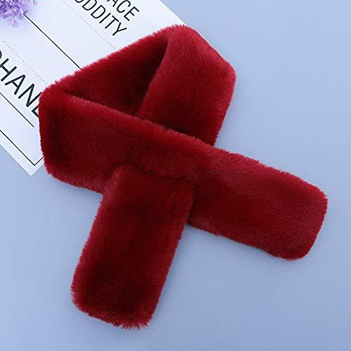 Alvnd Frauen einfarbig passenden Schal Kreuz Pelz Schal Elegante Damen Winter warm dicken Schal (37,4