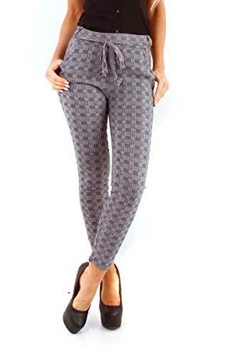 OSAB-Fashion 10523 Slimfit Damen Hose Treggings Kariert Karohose Gummibund Kordelzug Simfit Pants