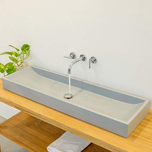 wohnfreuden Terrazzo wastafel 120x35 cm grijs natuursteen opzet-wastafel