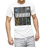 igsticker プリント Tシャツ メンズ L size おしゃれ クルーネック 白 ホワイト t-shirt 005863 ユニーク 車道 道路