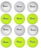 Kosma - Set di 12 palline da hockey, per sport all'aria aperta, in PVC, 6 pezzi, colore: giallo e bianco