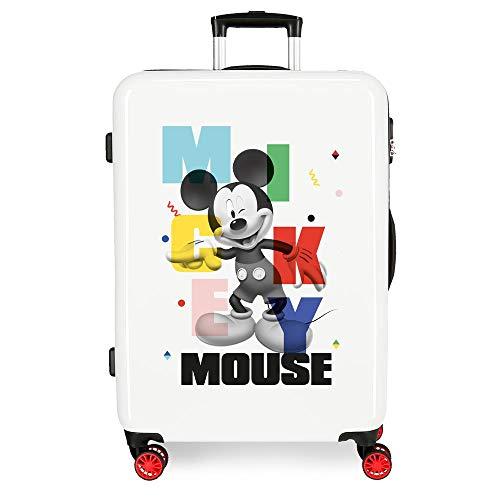 Disney Mickey´S Party Maleta Mediana Blanco 48x68x26 cms Rígida ABS Cierre de combinación Lateral 70L 3,3 kgs 4 Ruedas Dobles