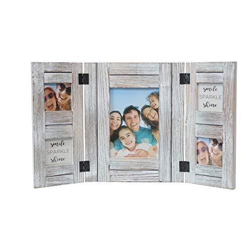 OuXean Vintage 3 Faltbarer dreifacher Fotorahmen Mehrere hölzerne 5 Bilderrahmen in handgefertigtem Weiß, Holzrahmen für Schreibtisch stehend Einzigartige Familienhochzeitsgeschenke