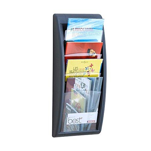 """Wandprospekthalter """"Avena"""" in anthrazit/4 Fächer in DIN A4/Wandzeitschriftenhalter/Zeitschriftenhalter/ideal für Zeitschriften und Prospekte im Wartebereich"""