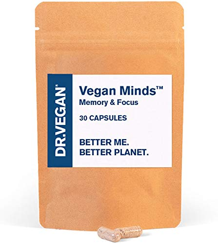 DR.VEGAN Vegan Minds | Memory & Focus, Brain Supplement, Clinically Tested BacoMind | 30 Capsules | One-A-Day | Includes Bacopa Monnieri 300mg, Ginkgo Biloba 150mg