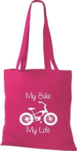 Stoffbeutel Fahrrad my bike my life BMX Kult Baumwolltasche, Beutel , Farbe pink