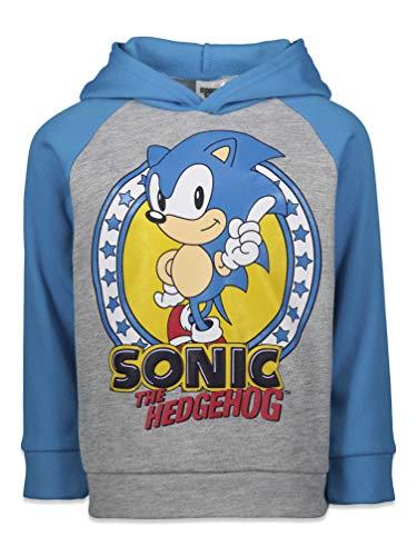 SEGA Sonic The Hedgehog Big Boys Fleece Pullover Hoodie Blue/Gray 10-12