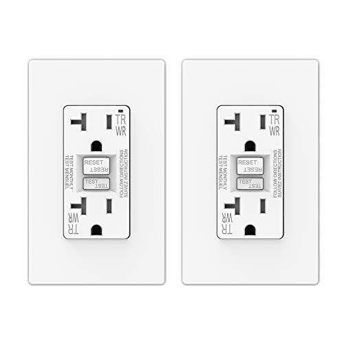 ELEGRP 20 Amp GFCI Outlet, 5-20R GFI Dual Receptacle, TR Tamper Resistant and WR Weather Resistant, Self-Test Ground Fault Circuit Interrupters, Wall Plate Included, UL Listed (2 Pack, Matte White)