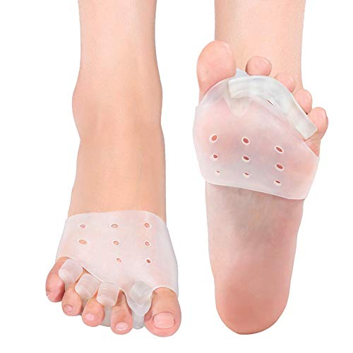 NCONCO 2 Pcs Gel Toe Separators, Bunion Corrector with Metatarsal Pads Forefoot Cushion Prevent Callus