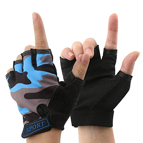 Boy Girl Child Children Kid Half Finger Fingerless Short Shock-absorbing No-Slip Pro Cycling Gloves Mitten for Cycling MTB Exercise Skate Skateboard Roller Skating Other Sports (Blue+Grey)