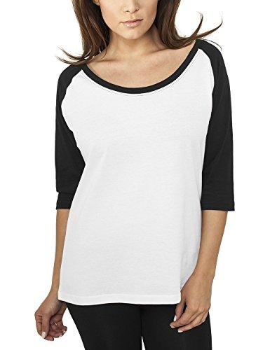 Urban Classics Ladies 3/4 Contrast Raglan tee Camiseta de Manga Larga, Blanco/Negro, S para Mujer