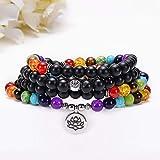 HJkkls 108 - Collar de perlas de mala, 8 mm, piedra esmerilada de alta calidad, 7 chakras budistas tibetanos, pulsera de oración del árbol de la vida, Om, loto, yoga, meditación, colgante