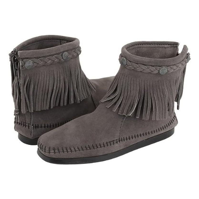 くしゃくしゃ木製薬を飲む[ミネトンカ] Minnetonka レディース HI-TOP BACK ZIP BOOT ハイトップ バック ジップ ブーツ グレー(GREY) US6.5(23.5cm)