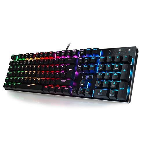 Preisvergleich Produktbild Mechanische Gaming Tastatur RGB Beleuchtung Aluminum Metall Platte Auswechselbaren Tasten (Blaue Switches) Anti-Ghosting Kompakt 105 Tasten (QWERTZ,  Deutsches Layout) mit abnehmbar USB-Kabel z88