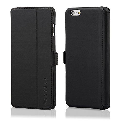 KANVASA iPhone 6/6s Plus Funda Piel Tapa Negra - Funda Libro Slim para Apple iPhone 6 / 6s Plus (5.5 Pulgadas) - Hecha de Auténtica Piel de Cuero - Protección Óptima y Piel de Calidad - Ultrafina