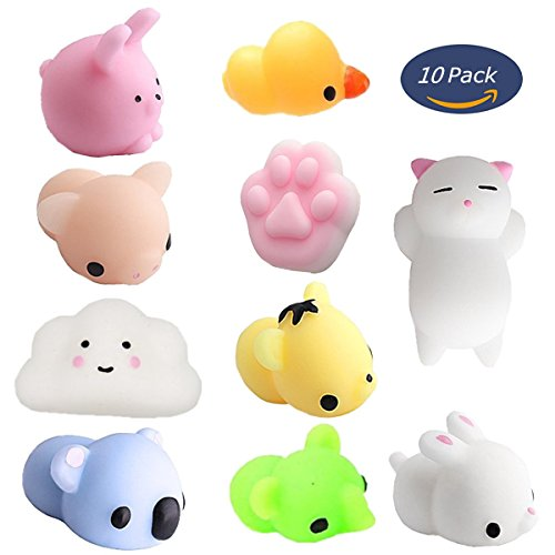 Mochi Squishy Animals Toys 10 Pcs Supoice Mini Mochi Kawaii Squishy Cat Stress Fidgets Toy