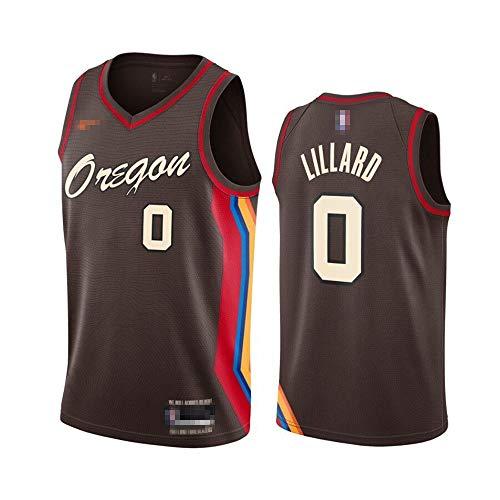 Camiseta de baloncesto sin mangas para hombre, camiseta de baloncesto Damian Portland NO.0 Trail Blazers Lillard 2020/21 Jugador Jersey de baloncesto Uniforme de secado rápido transpirable sudadera