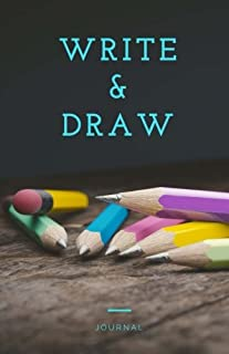 Write and Draw Journal: Pencil Notebook, Blue, Drawing Journal or Daily Diary, for Adults, Teens or Kids, Blank Pages, Softcover (Elite Journal)