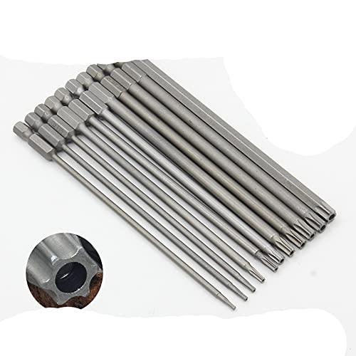 1pc 150mm de largo T6-T40 Juego de puntas de destornillador magnético Cabeza de destornillador eléctrico T6, T8, T9, T10, T15, T20, T25, T27, T30, T35, T40-11Pcs-Package