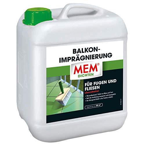 MEM Balkon-Imprägnierung - 5 L - Imprägnieren von Rissen auf saugende Untergründen- Wasserabstoßenden Schutzshicht mit Wasserabperleffekt - intensive Wirkung - 30836441