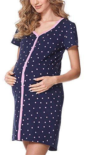Bellivalini Camicia da Notte Premaman con Funzione Allattamento BLV50-114 (Puntini della Marina (Rosa), XL)