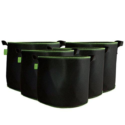 DIYer Pflanzsack aus Vliesstoff - 10 Gallonen, ca. 40 Liter - 5er Pack Pflanztasche Kartoffelsack Pflanzbeutel - Die gesunde Alternative