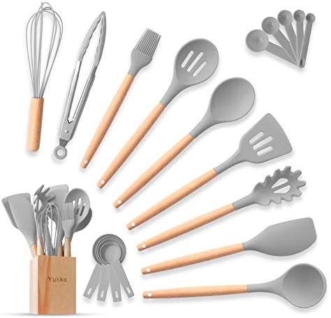 Complete Silicone Cooking Kitchen Utensil Set 20pcs Natural Bamboo Handles Non Stick BPA Free product image