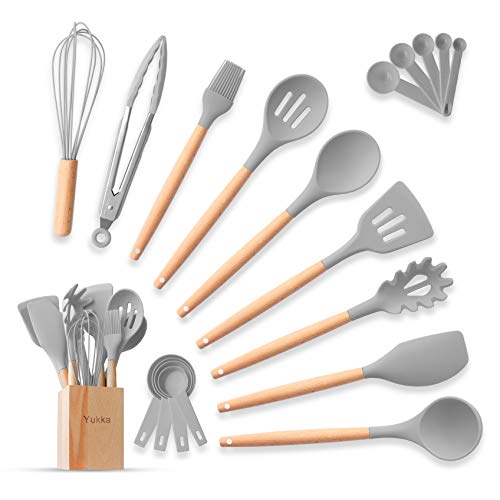 Silicone Cooking Utensils Kitchen Utensils Set 20pcs Natural Bamboo Handle Non-Stick BPA-Free Non-Scratch Cookware W/Wooden Holder Spatula Tongs Measuring Cups & SpoonsSet Best Kitchen Gadget (Gray)