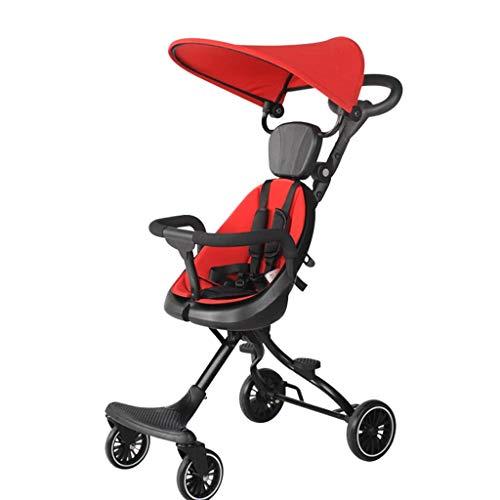 MNBV Cochecito de bebé Ligero con Paraguas, Cochecito de Viaje Infantil Plegable con cinturón de Transporte, fácil traslado del Asiento Infantil (Color: Rojo)