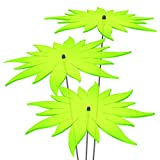 SUNPLAY Sonnenfänger - Sonnenblumen Set - 3X Grün - Ø 20 cm Durchmesser + Schwingstäbe
