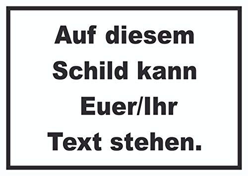 Schild mit Wunschtext waagerecht Text schwarz Hintergrund Weiss A4 (210x297mm)
