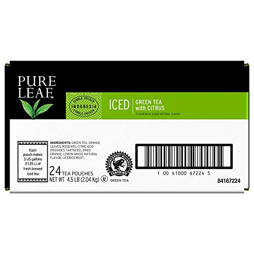 Pure Leaf Green with Citrus Unsweetened Iced Loose Tea Pouch Made with Tea Leaves Sourced from Rainforest Alliance Certified Farms, 3 gallon, Pack of 24