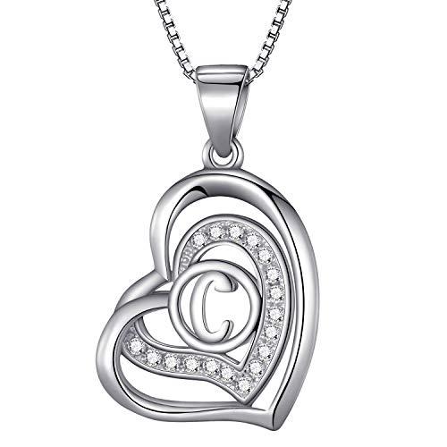 Morella® Damen Halskette Herz Buchstabe C 925 Silber rhodiniert mit Zirkoniasteinen weiß 46 cm