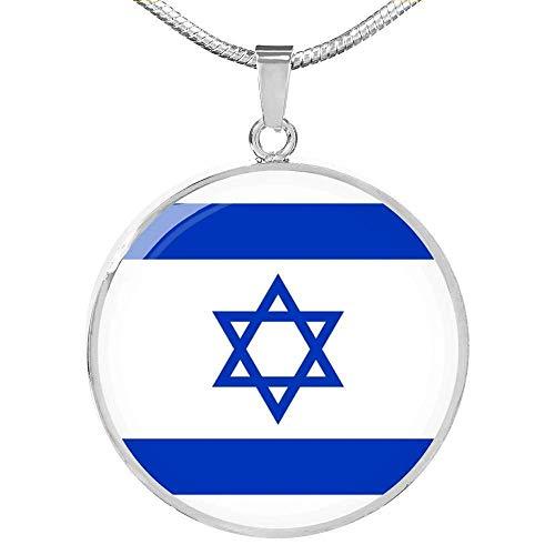Collar Con Colgante con Forma De Círculos de Acero Inoxidable O Acabado Oro 18 Quilates Diseño Bandera Israel Amor My Country Ajustable 45,7-55, 9CM