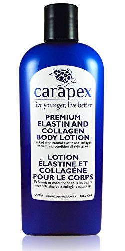 Carapex Premium Elastin & Collagen Body Lotion, Natural Firming & Moisturizing for Sensitive, Aging Skin, with Shea Butter, Vitamin E, Fragrance Free 8oz (Single)