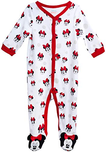 Disney Baby Girls? Sleep N? Play ? Footie Pajamas: Minnie Mouse, Daisy Duck, Princess (Newborn/Infant), Size 3-6 Months, Minnie White/Red