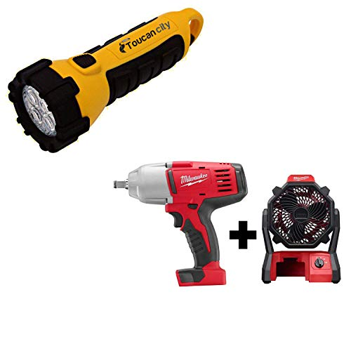 Toucan City LED Flashlight and Milwaukee M18 18-Volt Lithium-Ion Cordless 1/2 in. Impact Wrench, Friction Ring with M18 Jobsite Fan 2663-20-0886-20